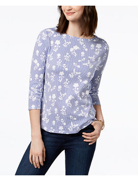 Petite Button Shoulder Print Top, Created For Macy's by Charter Club