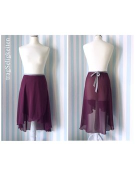 Long Rehearsal Skirt, Ballet Wrap Skirt, Plum Chiffon, Adult Dancewear, Purple Ballet Skirt, Long Dance Skirt, High Low, R9 Pl by Etsy