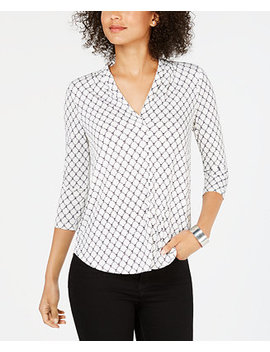Petite Pleat Neck Printed Top, Created For Macy's by Charter Club