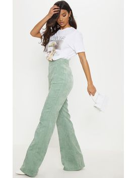 Sage Green Cord Flare Pants by Prettylittlething