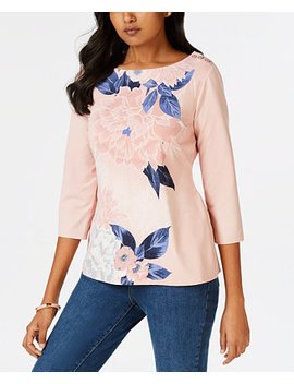Petite Floral Print Button Trim Top, Created For Macy's by Charter Club