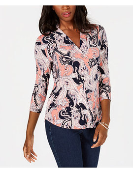Petite 3/4 Sleeve Paisley Print Top, Created For Macy's by Charter Club