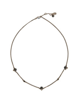 Silver Short Chain Skull Necklace by Alexander Mcqueen