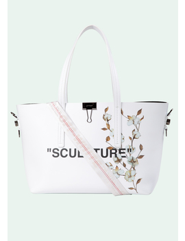 White Cotton Flower Sculpture Tote by Off White