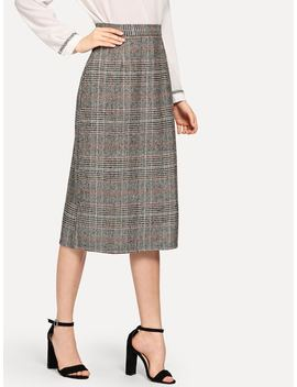 Zip Back Plaid Skirts by Sheinside