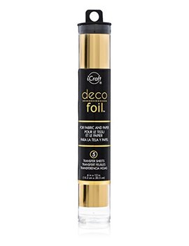 """Deco Foil, 5 Transfer Sheets, 6"""" X 12"""", Gold by I Craft"""