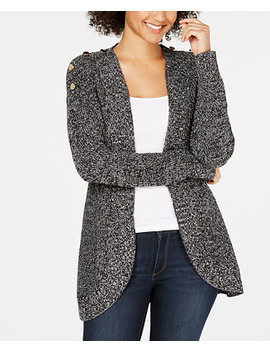 Petite Marled Open Front Completer Cardigan, Created For Macy's by Charter Club
