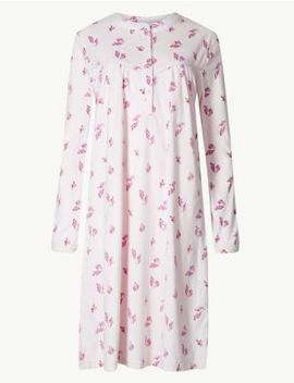 Fleece Leaf Print Long Sleeve Nightdress by Marks & Spencer
