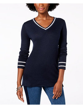 Metallic Trim Sweater, Created For Macy's by Charter Club