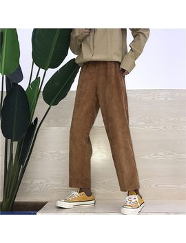 Personality Vintage New Brand Korean Fashion Women's Clothing Harajuku Style Ulzzang Loose Couple Corduroy Solid Straight Pants by Ali Express