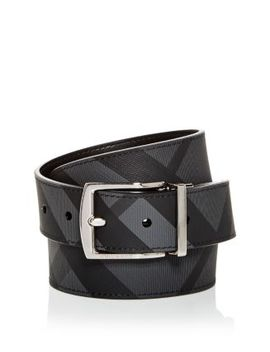Clark Vintage Check Reversible Coated Leather Belt by Burberry