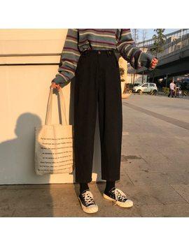 Mihoshop Ulzzang Korean Korea Women Fashion Clothing High Waist Black Wide Leg Trousers Pants by Padegao