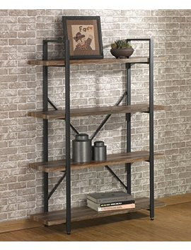 O&K Furniture 4 Tier Bookcases And Book Shelves, Industrial Vintage Metal And Wood Bookcases Furniture by O&K Furniture