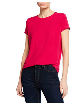 Crewneck Short Sleeve Tee With Inverted Back Pleat by Majestic Paris For Neiman Marcus