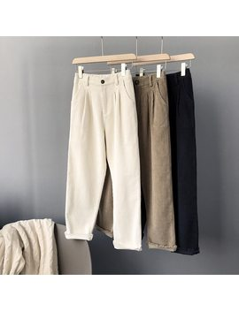 Mooirue Summer Trousers Woman Work Ol Wear Corduroy High Thin Trousers Loose Women Pantalon Bottom by Bonjean