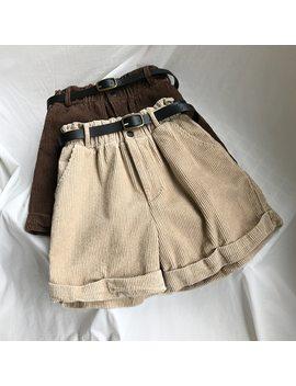 2018 Autumn Winter Women's Casual Shorts High Waist Solid Thick Corduroy Shorts Femme Belt Elastic Waist Basic Shorts Pockets by Ali Express