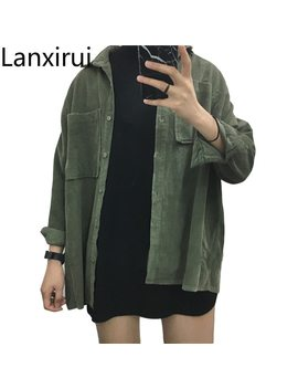 Fashion Women New Corduroy Turn Down Collar Females Cotton Loose Womens Solid Color Overcoat Wind Jacket Ladies Female Jackets by Lanxirui