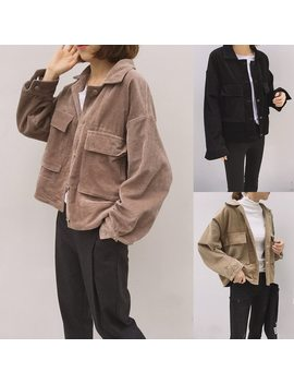 2019 Retro Corduroy Jacket Women Lapel Single Breasted Pocket Jackets Outwear Casual Female Solid Loose Coats Fashion Streetwear by Liva Girl