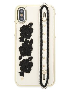 Embroidered I Phone X Case With Strap by Kate Spade New York