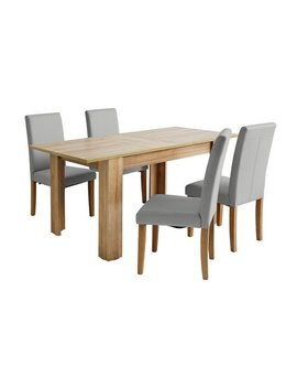 Argos Home Miami Extendable Dining Table & 4 Chairs   Grey by Argos