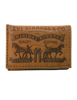 Levis Men's Leather Embossed Trifold Wallet by Levis
