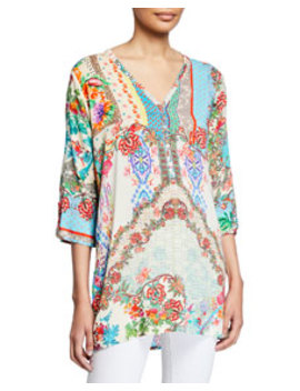 Resort Printed Button Down Tunic Blouse by Johnny Was