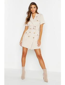 Woven Pocket Belted Utility Dress by Boohoo