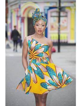 Ankara Print Dress/ African Clothing/ Ankara Print Dress/ One Shoulder Dress/Women Clothing   Yellow Samba By Gitas Portal by Etsy