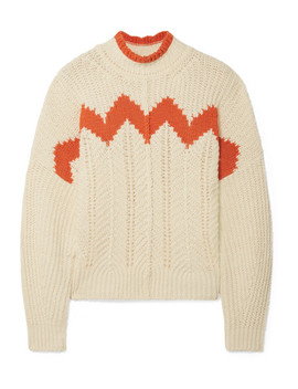 Bell Intarsia Paneled Open Knit Cotton Blend Turtleneck Sweater by Isabel Marant