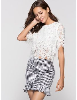 Lace Hollow Out Top by Sheinside
