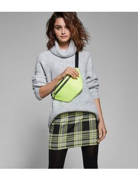 Black And Neon Yellow Check Tube Skirt by New Look