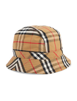 Checked Cotton Canvas Bucket Hat by Burberry