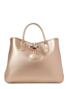 Gold Roseau Small Leather Tote by Longchamp