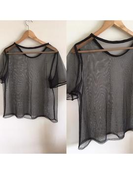 Vintage 80s 90s Grunge Black Top Fine Mesh Size M 10 12 Tshirt Punk Festival Blouse Medium Boxy Sheer Mesh Top by Etsy