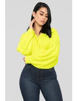 Be Alright Top   Neon Yellow by Fashion Nova
