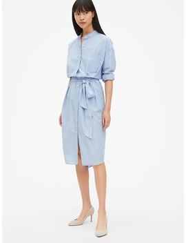 Long Sleeve Tie Belt Shirtdress by Gap
