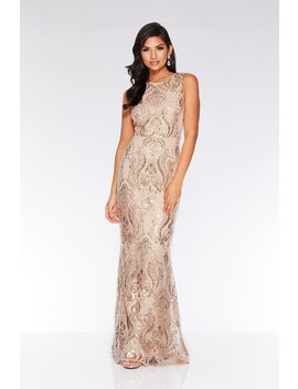 Champagne Sequin Embellished Maxi Dress by Quiz