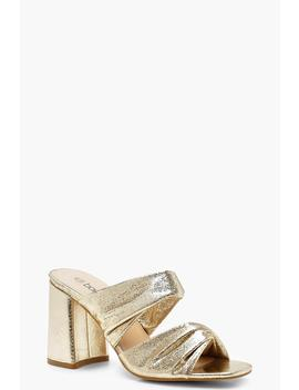 Metallic Flared Heel Mules by Boohoo