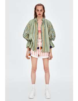 Embroidered Jacket With Pompoms  Jacketswoman Sale by Zara