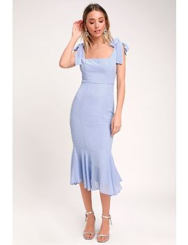 Bimini Periwinkle Blue Swiss Dot Tie Strap Midi Dress by Lulus