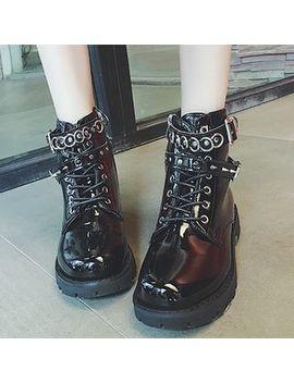 Frivole   Studded Patent Block Heel Short Boots by Frivole
