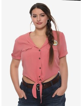 Jurassic Park Ellie Tie Front Girls Crop Button Up Woven Plus Size by Hot Topic