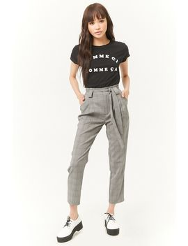 Glen Plaid Paperbag Pants by Forever 21
