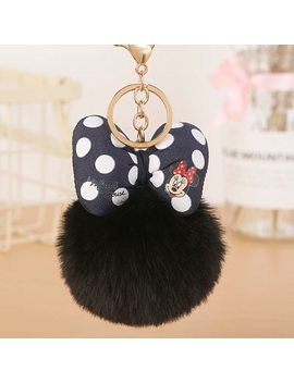 2018 Mickey Bowknot With Rabbit Fur Ball For Car Keychain Bag Key Ring Jewelry For Women Bag Holder Eh882 by Piqiya