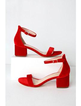 Harper Velvet Red Ankle Strap Heels by Lulus
