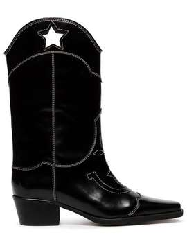 Black Marlyn 50 Cutout Star Leather Cowboy Boots by Ganni