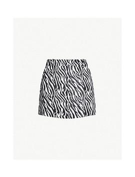 Zebra Print Woven Mini Skirt by Topshop