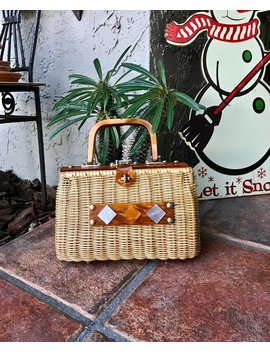 Vintage Wicker And Lucite Purse, 1960s Handbag, Made In Hong Kong by Etsy