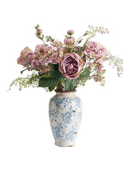 Peony Artificial Roses In Vintage Floral Pot, Lilac by Peony