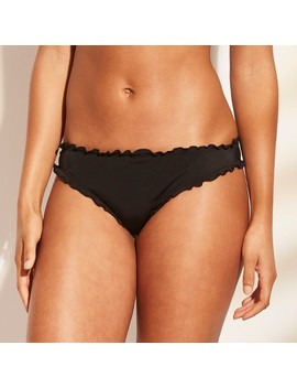 Women's Sun Rays Ruffle Extra Cheeky Bikini Bottom   Shade & Shore™ Black by Shade & Shore